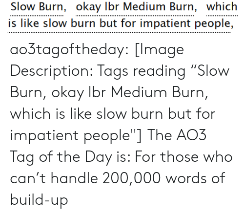 """Target, Tumblr, and Blog: Slow Burn, okay Ibr Medium Burn, which  is like slow burn but for impatient people, ao3tagoftheday:  [Image Description: Tags reading """"Slow Burn, okay lbr Medium Burn, which is like slow burn but for impatient people""""]  The AO3 Tag of the Day is: For those who can't handle 200,000 words of build-up"""