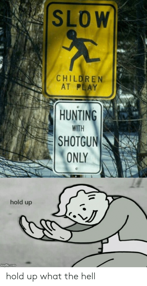 what-the-hell: SLOW  CHILDREN  AT PLAY  HUNTING  WITH  SHOTGUN  ONLY  hold up  imgflip.com hold up what the hell