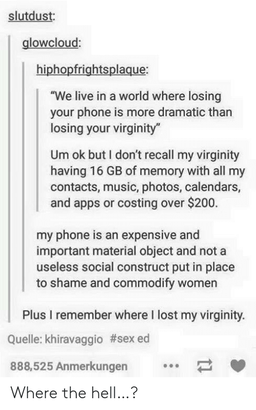 """My Virginity: slutdust:  glowcloud:  hiphopfrightsplaque:  """"We live in a world where losing  your phone is more dramatic than  losing your virginity  Um ok but I don't recall my virginity  having 16 GB of memory with all my  contacts, music, photos, calendars,  and apps or costing over $200.  my phone is an expensive and  important material object and not a  useless social construct put in place  to shame and commodify women  Plus I remember where I lost my virginity.  Quelle: khiravaggio #sex ed  888,525 Anmerkungen  11 Where the hell…?"""