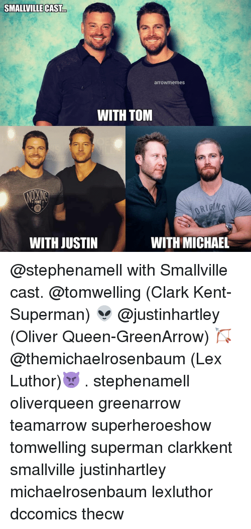 Clark Kent: SMALLVILLE CAST  arrowmemes  WITH TOM  POINT  WITH JUSTIN  WITH MICHAEL @stephenamell with Smallville cast. @tomwelling (Clark Kent-Superman) 👽 @justinhartley (Oliver Queen-GreenArrow) 🏹 @themichaelrosenbaum (Lex Luthor)👿 . stephenamell oliverqueen greenarrow teamarrow superheroeshow tomwelling superman clarkkent smallville justinhartley michaelrosenbaum lexluthor dccomics thecw