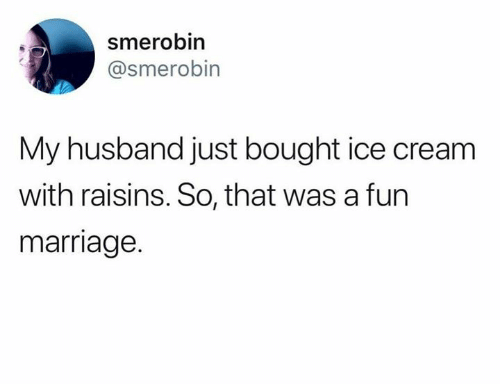 Humans of Tumblr: smerobin  @smerobin  My husband just bought ice cream  with raisins. So, that was a furn  marriage.