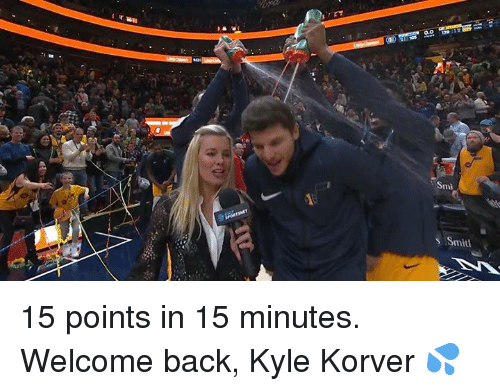 smi: Smi  s Smitt 15 points in 15 minutes. Welcome back, Kyle Korver 💦