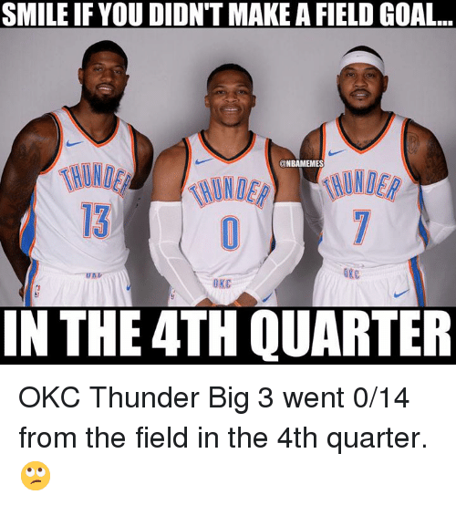 Nba, Goal, and Okc Thunder: SMILE IF YOU DIDN'T MAKE A FIELD GOAL..  @NBAMEMES  HUND  13.  ORC  U矗シ  OKC  IN THE 4TH QUARTER OKC Thunder Big 3 went 0/14 from the field in the 4th quarter. 🙄