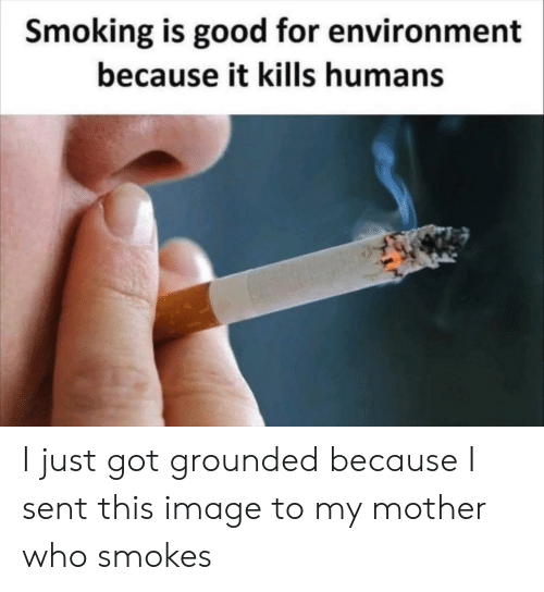 Smoking, Good, and Image: Smoking is good for environment  because it kills humans I just got grounded because I sent this image to my mother who smokes