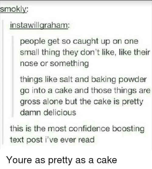Being Alone, Confidence, and Cake: smokly  instawillgraham:  people get so caught up on one  small thing they don't like, like their  nose or something  things like salt and baking powder  go into a cake and those things are  gross alone but the cake is pretty  damn delicious  this is the most confidence boosting  text post i've ever read Youre as pretty as a cake
