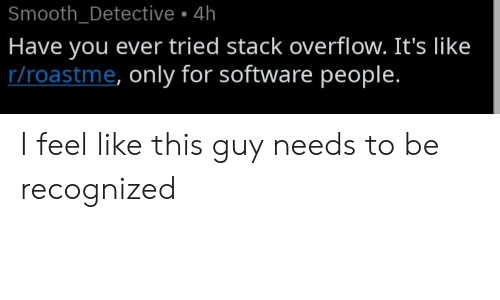 Smooth: Smooth_Detective 4h  Have you ever tried stack overflow. It's like  r/roastme, only for software people. I feel like this guy needs to be recognized