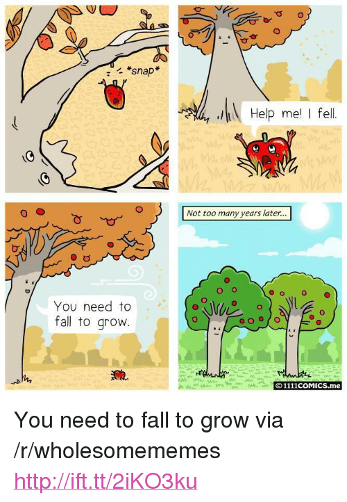 "Fall, Help, and Http: *snap  Help me I fell  Not too many years later...  O o  O  You need to  fall to grovw  © 1111COMICS.me <p>You need to fall to grow via /r/wholesomememes <a href=""http://ift.tt/2iKO3ku"">http://ift.tt/2iKO3ku</a></p>"