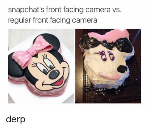 Front Face Camera: snapchat's front facing camera ws.  regular front facing camera derp