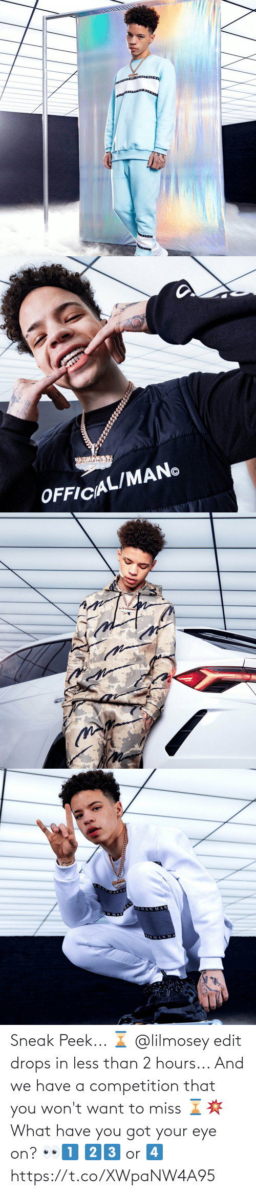 sneak peek: Sneak Peek... ⌛  @lilmosey edit drops in less than 2 hours... And we have a competition that you won't want to miss ⌛💥  What have you got your eye on? 👀1️⃣ 2️⃣3️⃣ or 4️⃣ https://t.co/XWpaNW4A95