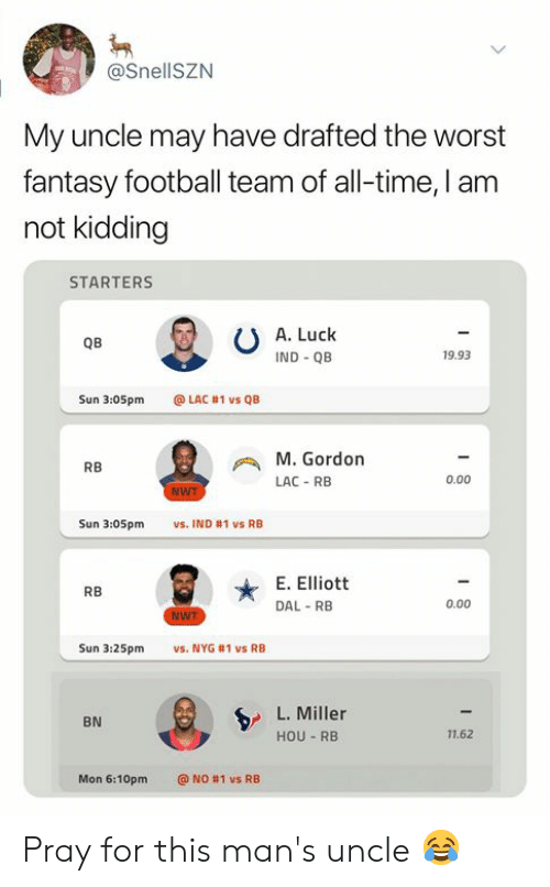 Fantasy Football, Football, and Nfl: @SnellSZN  My uncle may have drafted the worst  fantasy football team of all-time, I am  not kidding  STARTERS  A. Luck  QB  IND QB  19.93  Sun 3:05pm  @LAC #1 vs QB  M.Gordon  RB  0.00  LAC-RB  NWT  Sun 3:05pm  vs. IND #1 vs RB  E. Elliott  RB  0.00  DAL RB  WT  vs. NYG #1 vs RB  Sun 3:25pm  L. Miller  BN  11.62  HOU RB  Mon 6:10pm  @ NO #1 vs RB Pray for this man's uncle 😂