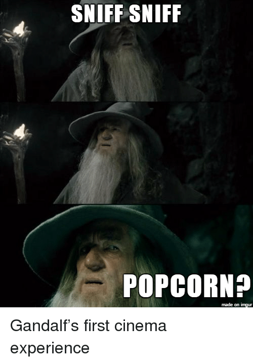 sniff sniff: SNIFF SNIFF  POPCORN?  made on imgur <p>Gandalf&rsquo;s first cinema experience</p>