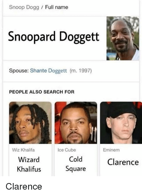 Eminem, Ice Cube, and Snoop: Snoop Dogg / Full name  Snoopard Doggett  Spouse: Shante Doggett (m. 1997)  PEOPLE ALSO SEARCH FOR  Wiz Khalifa  Ice Cube  Eminem  Wizard  Khalifus  Cold  Square  Clarence Clarence