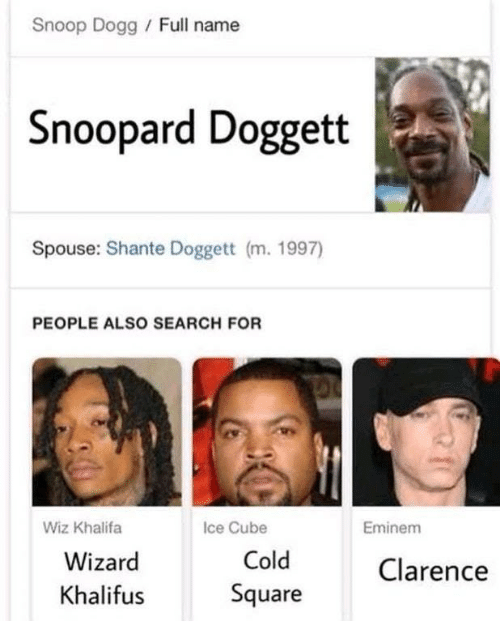Eminem, Ice Cube, and Snoop: Snoop Dogg /Full name  Snoopard Doggett  Spouse: Shante Doggett (m. 1997)  PEOPLE ALSO SEARCH FOR  Wiz Khalifa  Ice Cube  Eminem  Wizard  Khalif  Cold  Square  Clarence  us