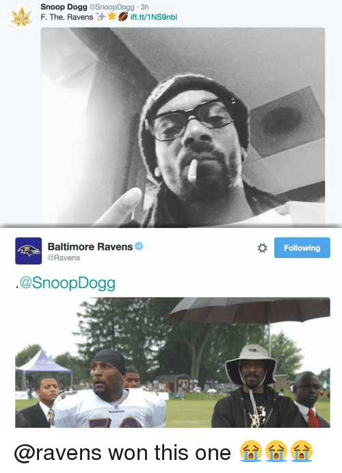 Baltimore Ravens: Snoop Dogg  @SnoopDogg 3h  F. The. Ravens  ift.tt/1NS9nbl  Baltimore Ravens  @Ravens  @SnoopDogg  TRAN WINS  Following @ravens won this one 😭😭😭