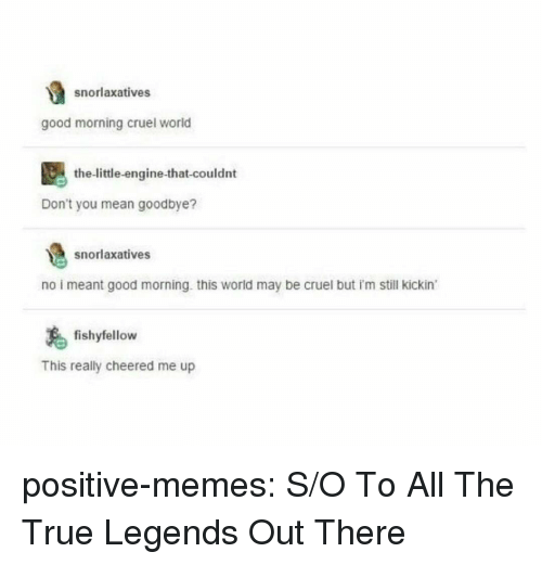 Memes, True, and Tumblr: snorlaxatives  good morning cruel world  the-little-engine-that-couldnt  Don't you mean goodbye?  snorlaxatives  no i meant good morning. this world may be cruel but i'm still kickin  fishyfellow  This really cheered me up positive-memes:  S/O To All The True Legends Out There