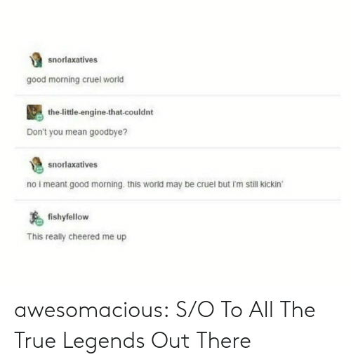 True, Tumblr, and Good Morning: snorlaxatives  good morning cruel world  the-little-engine-that-couldnt  Don't you mean goodbye?  snorlaxatives  no i meant good morning. this world may be cruel but i'm still kickin  fishyfellow  This really cheered me up awesomacious:  S/O To All The True Legends Out There