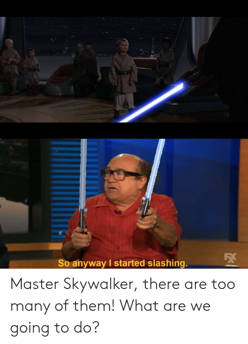 what are we: So anyway I started slashing. Master Skywalker, there are too many of them! What are we going to do?