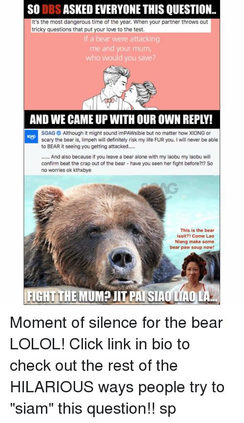 """Siam: SO DBS  ASKEDEVERYONE THIS QUESTION..  It's the most dangerous time of the year. When your partner throws out  tricky guestions that put your love to the test.  If a bear were attackin  me and your mum  who would you save?  AND WE CAMEUP WITH OUR OWN REPLY!  SGAG Although it might sound imPAWsible but no matter how XIONG or  scary the bear is  limpeh will definitely risk my life FUR you. I will never be able  to BEAR it seeing you getting attacked.....  And also because if you leave a bear alone with my laobu my laobu will  confirm beat the crap out of the bear-have you seen herfight before?!? So  no worries ok kthxbye  This is the bear  issit?! Come Lao  Niang make some  bear paw soup now!  FIGHT THE  MUMP JIT PAI SIAO MAOLA Moment of silence for the bear LOLOL! Click link in bio to check out the rest of the HILARIOUS ways people try to """"siam"""" this question!! sp"""