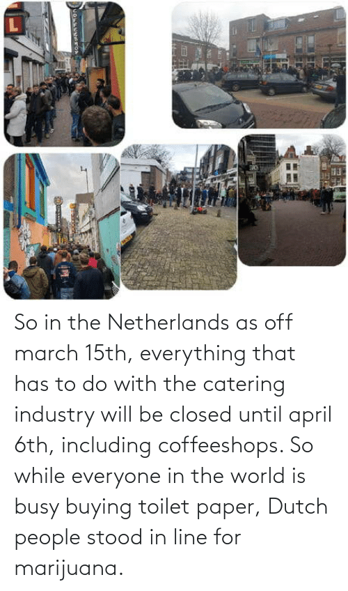 busy: So in the Netherlands as off march 15th, everything that has to do with the catering industry will be closed until april 6th, including coffeeshops. So while everyone in the world is busy buying toilet paper, Dutch people stood in line for marijuana.