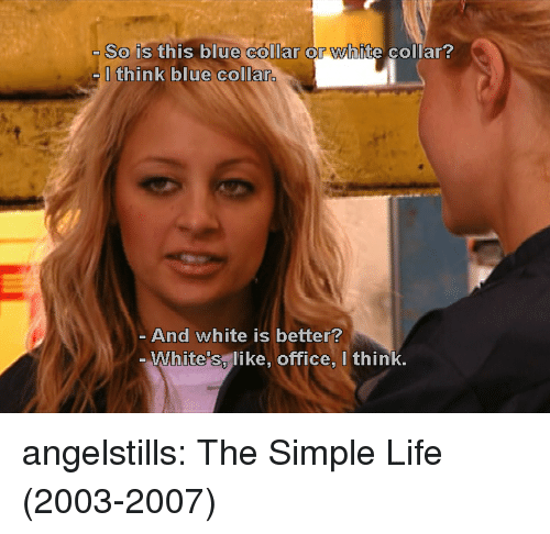Life, Target, and Tumblr: So is this blue collar or white collar?  Ithink blue collar.  And white is better?  White's, like, office, I think, angelstills: The Simple Life (2003-2007)