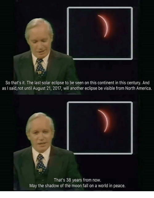 Mooned: So that's it. The last solar eclipse to be seen on this continent in this century. And  as I said,not until August 21, 2017, will another eclipse be visible from North America.  That's 38 years from now.  May the shadow of the moon fall on a world in peace.