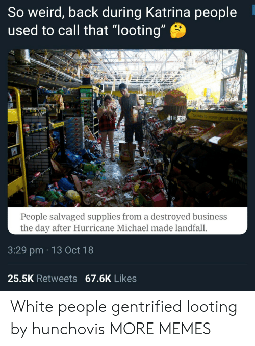 "Dank, Memes, and Target: So weird, back during Katrina people  used to call that ""looting  This way to score great Saving  People salvaged supplies from a destroyed business  the day after Hurricane Michael made landfall.  3:29 pm 13 Oct 18  25.5K Retweets 67.6K Likes White people gentrified looting by hunchovis MORE MEMES"