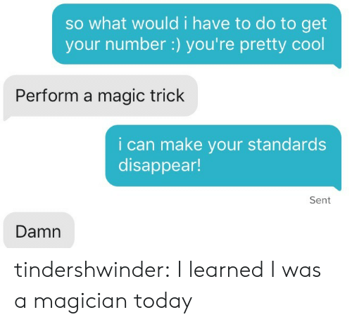 youre pretty: so what would i have to do to get  your number:) you're pretty cool  Perform a magic trick  i can make your standards  disappear!  Sent  Damn tindershwinder:  I learned I was a magician today