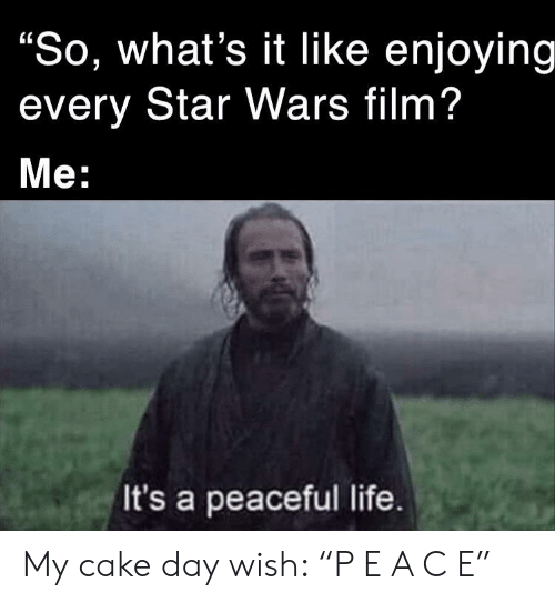 "Life, Star Wars, and Cake: ""So, what's it Ilike enjoying  every Star Wars film?  Мe:  It's a peaceful life. My cake day wish: ""P E A C E"""