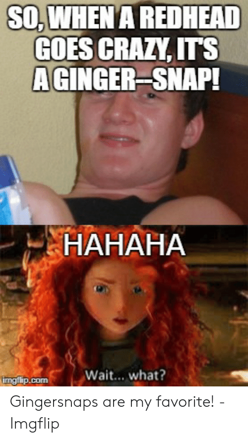 Ginger Snap Meme: SO,WHEN A REDHEAD  GOES CRAZY, ITS  AGINGER SNAP!  НАНАНА  Wait... what?  imgflip.com Gingersnaps are my favorite! - Imgflip
