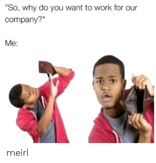 "Work, MeIRL, and Company: ""So, why do you want to work for our  company?""  Me: meirl"