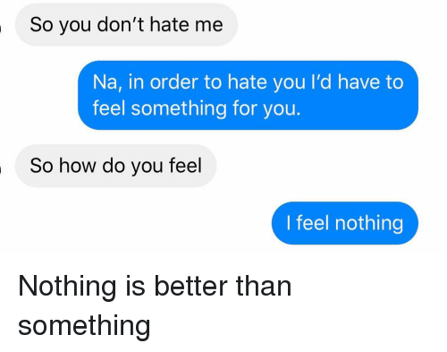 How Do You Feel: So you don't hate me  Na, in order to hate you I'd have to  feel something for you.  So how do you feel  I feel nothing Nothing is better than something