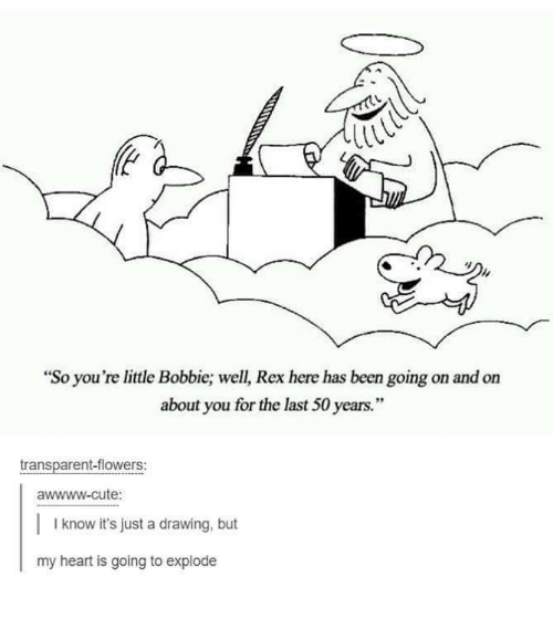 """Bobbie: """"So you're little Bobbie; well, Rex here has been going on and on  about you for the last 50 years.""""  transparent-flowers:  awwww-cute:  I know it's just a drawing, but  my heart is going to explode"""