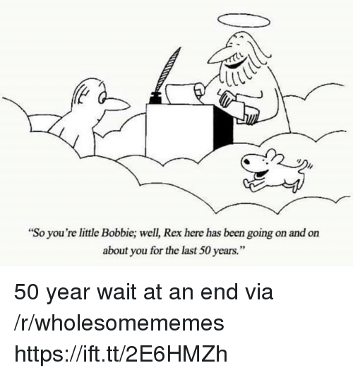 """Bobbie: """"So you're little Bobbie; well, Rex here has been going on and on  about you for the last 50 years."""" 50 year wait at an end via /r/wholesomememes https://ift.tt/2E6HMZh"""
