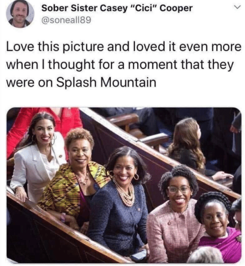 "Loved It: Sober Sister Casey ""Cici"" Cooper  @soneall89  Love this picture and loved it even more  when I thought for a moment that they  were on Splash Mountain"