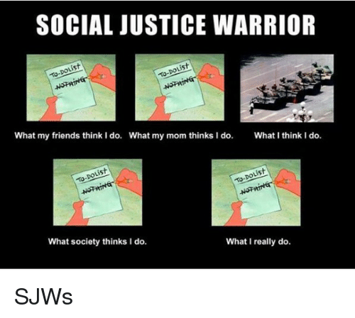 What I really do: SOCIAL JUSTICE WARRIOR  is  What my friends think I do.  What my mom thinks I do.  What I think I do.  What society thinks I do.  What I really do <p>SJWs</p>