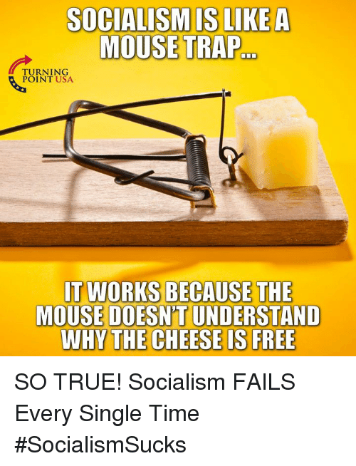 Memes, Trap, and True: SOCIALISMIS LIKEA  MOUSE TRAP  TURNING  IT WORKS BECAUSE THE  MOUSE DOESN'T UNDERSTAND  WHY THE CHEESE IS FREE SO TRUE! Socialism FAILS Every Single Time #SocialismSucks