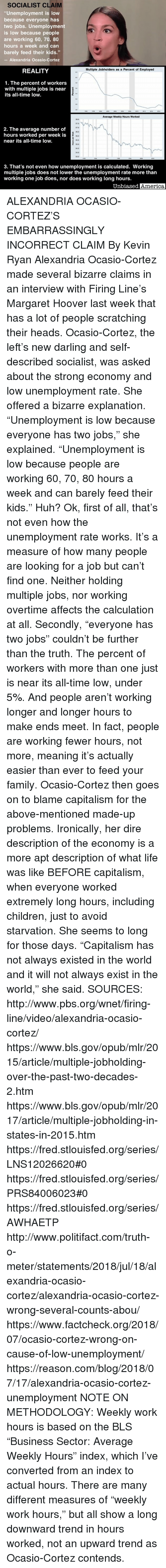 "America, Children, and Family: SOCIALIST CLAIM  ""Unemployment is low  because everyone has  two jobs. Unemployment  is low because people  are working 60, 70, 80  hours a week and can  barely feed their kids.""  -Alexandria Ocasio-Cortez  REALITY  Multiple Jobholders as a Percent of Employed  1. The percent of workers  with multiple jobs is near  its all-time low.  Average Weekly Hours Worked  7.5  37,0  36.5  2. The average number of  hours worked per week is  near its all-time low.  35.5  35.0  45  34.0  3. That's not even how unemployment is calculated. Working  multiple jobs does not lower the unemployment rate more than  working one job does, nor does working long hours.  Unbiased  America ALEXANDRIA OCASIO-CORTEZ'S EMBARRASSINGLY INCORRECT CLAIM By Kevin Ryan  Alexandria Ocasio-Cortez made several bizarre claims in an interview with Firing Line's Margaret Hoover last week that has a lot of people scratching their heads.  Ocasio-Cortez, the left's new darling and self-described socialist, was asked about the strong economy and low unemployment rate.  She offered a bizarre explanation.  ""Unemployment is low because everyone has two jobs,"" she explained.  ""Unemployment is low because people are working 60, 70, 80 hours a week and can barely feed their kids.""  Huh?  Ok, first of all, that's not even how the unemployment rate works.  It's a measure of how many people are looking for a job but can't find one.  Neither holding multiple jobs, nor working overtime affects the calculation at all.  Secondly, ""everyone has two jobs"" couldn't be further than the truth.  The percent of workers with more than one just is near its all-time low, under 5%.  And people aren't working longer and longer hours to make ends meet.  In fact, people are working fewer hours, not more, meaning it's actually easier than ever to feed your family.  Ocasio-Cortez then goes on to blame capitalism for the above-mentioned made-up problems.  Ironically, her dire description of the economy is a more apt description of what life was like BEFORE capitalism, when everyone worked extremely long hours, including children, just to avoid starvation.  She seems to long for those days.  ""Capitalism has not always existed in the world and it will not always exist in the world,"" she said.  SOURCES: http://www.pbs.org/wnet/firing-line/video/alexandria-ocasio-cortez/ https://www.bls.gov/opub/mlr/2015/article/multiple-jobholding-over-the-past-two-decades-2.htm https://www.bls.gov/opub/mlr/2017/article/multiple-jobholding-in-states-in-2015.htm https://fred.stlouisfed.org/series/LNS12026620#0 https://fred.stlouisfed.org/series/PRS84006023#0 https://fred.stlouisfed.org/series/AWHAETP http://www.politifact.com/truth-o-meter/statements/2018/jul/18/alexandria-ocasio-cortez/alexandria-ocasio-cortez-wrong-several-counts-abou/ https://www.factcheck.org/2018/07/ocasio-cortez-wrong-on-cause-of-low-unemployment/ https://reason.com/blog/2018/07/17/alexandria-ocasio-cortez-unemployment NOTE ON METHODOLOGY: Weekly work hours is based on the BLS ""Business Sector: Average Weekly Hours"" index, which I've converted from an index to actual hours.  There are many different measures of ""weekly work hours,"" but all show a long downward trend in hours worked, not an upward trend as Ocasio-Cortez contends."