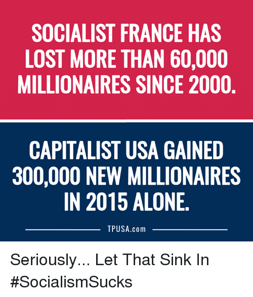 300: SOCIALIST FRANCE HAS  LOST MORE THAN 60,000  MILLIONAIRES SINCE 2000  CAPITALIST USA GAINED  300,000 NEW MILLIONAIRES  IN 2015 ALONE  TPUSA.com Seriously... Let That Sink In #SocialismSucks