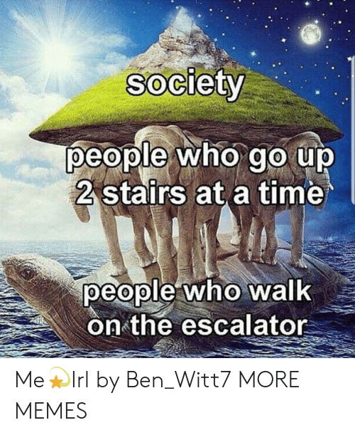Dank, Memes, and Target: Society  people who go up  2 stairs at a time  people who walk  on the escalator Me💫Irl by Ben_Witt7 MORE MEMES