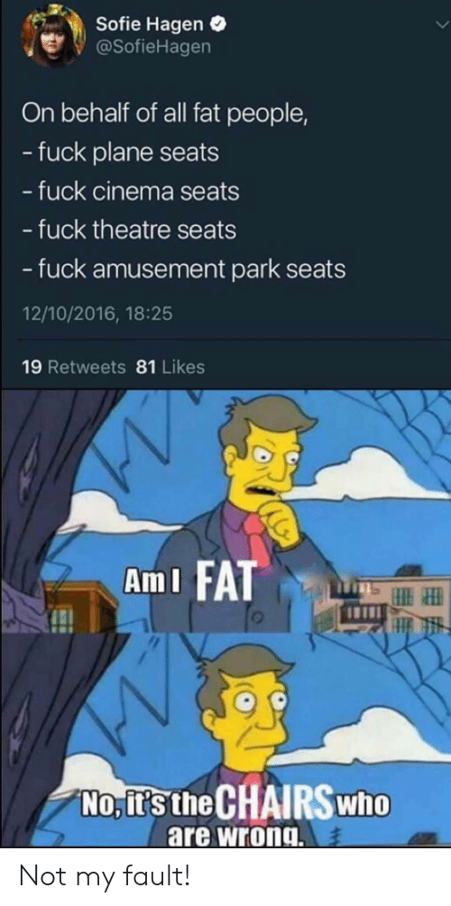 Behalf: Sofie Hagen  @SofieHagen  On behalf of all fat people,  -fuck plane seats  - fuck cinema seats  - fuck theatre seats  - fuck amusement park  12/10/2016, 18:25  19 Retweets 81 Likes  AmI FAT  No, it's the CHAIRSWHO  are wrong. Not my fault!