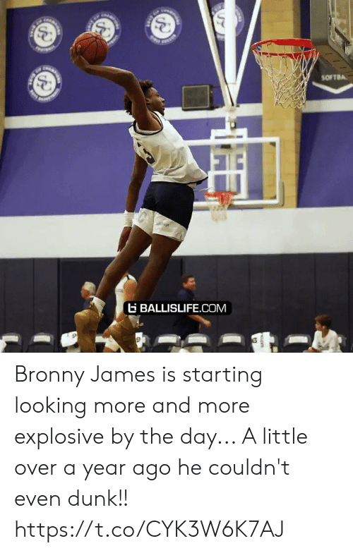 Dunk, Memes, and 🤖: SOFTBA  age  BALLISLIFE.COM Bronny James is starting looking more and more explosive by the day... A little over a year ago he couldn't even dunk!! https://t.co/CYK3W6K7AJ