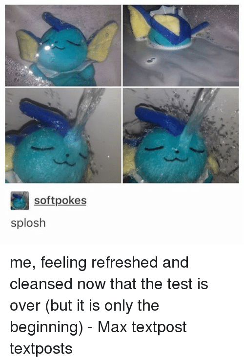 Memes, Test, and 🤖: softpokes  splosh me, feeling refreshed and cleansed now that the test is over (but it is only the beginning) - Max textpost textposts