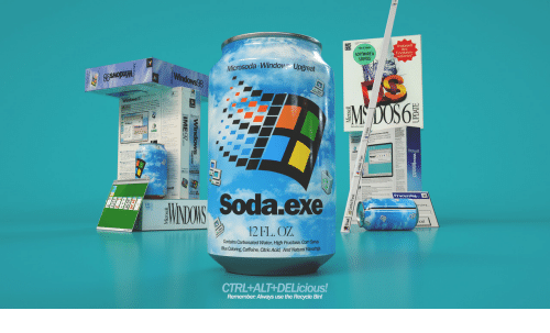 processing: SOFTWARE&  SERVICE  Festplatten-  kapazinat  Microsoda-Window Upgreat  Iu  Soda exe  Processing  12FL. OZ  Contains Carbonated Water, High Fructose, Com Synup  BueColoring Caffeine, Citric Acid, And Natural Rao  CTRL+ALT+DELicious!  Remember: Always use the Recycle Bin!