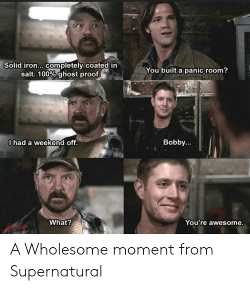 iron: Solid iron... completely coated in  salt. 100% ghost proof  You built a panic room?  0had a weekend off.  Bobby...  What?  You're awesome. A Wholesome moment from Supernatural