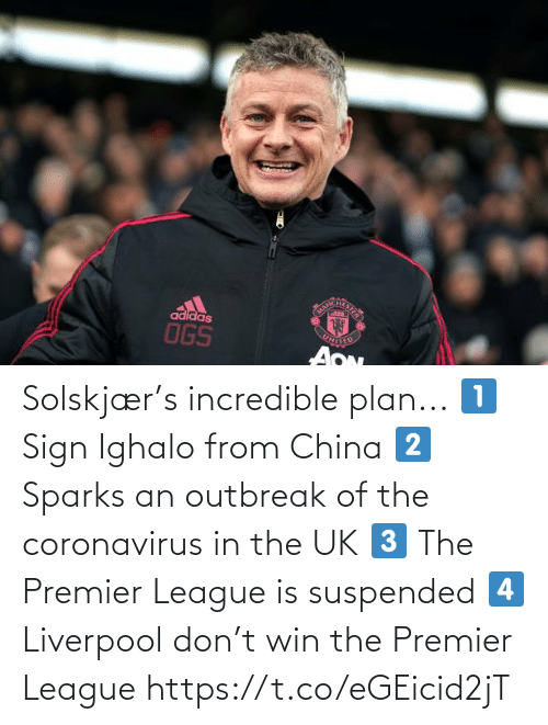 Premier League, Soccer, and China: Solskjær's incredible plan...  1⃣ Sign Ighalo from China 2⃣ Sparks an outbreak of the coronavirus in the UK 3⃣ The Premier League is suspended 4⃣ Liverpool don't win the Premier League https://t.co/eGEicid2jT