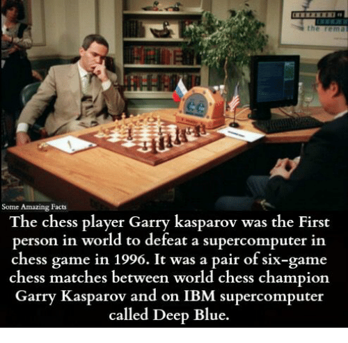 ibm: Some Amazing Facts  The chess player Garry kasparov was the First  person in world to defeat a supercomputer in  chess game 1996. It was a pair of six-game  chess matches between world chess champion  Garry Kasparov and on IBM supercomputer  called Deep Blue.