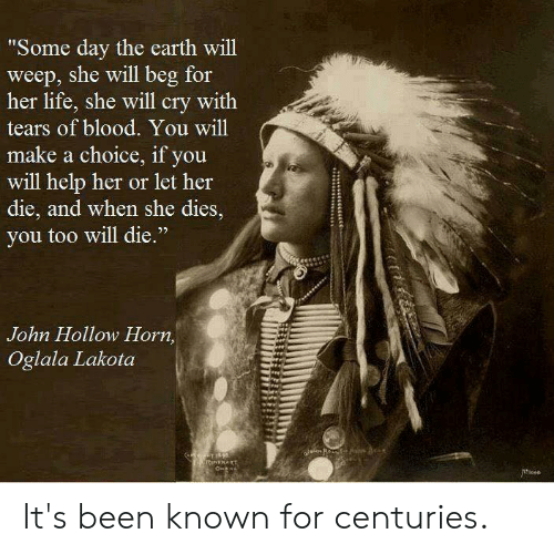 "Life, Memes, and Earth: Some day the earth will  weep, she will beg for  her life, she will cry with  tears of blood. You will  make a choice, if you  will help her or let her  die, and when she dies,  you too will die.""  3  John Hollow Horn,  Oglala Lakota It's been known for centuries."