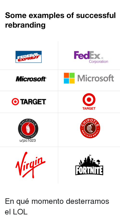Examples Of: Some examples of successful  rebranding  FedEx  Xe  Corporation  EXPRE  MicrosoftMicrosoft  OTARGET  TARGET  PO  CAN  A N  u/jzc1023  FORTNITE En qué momento desterramos el LOL