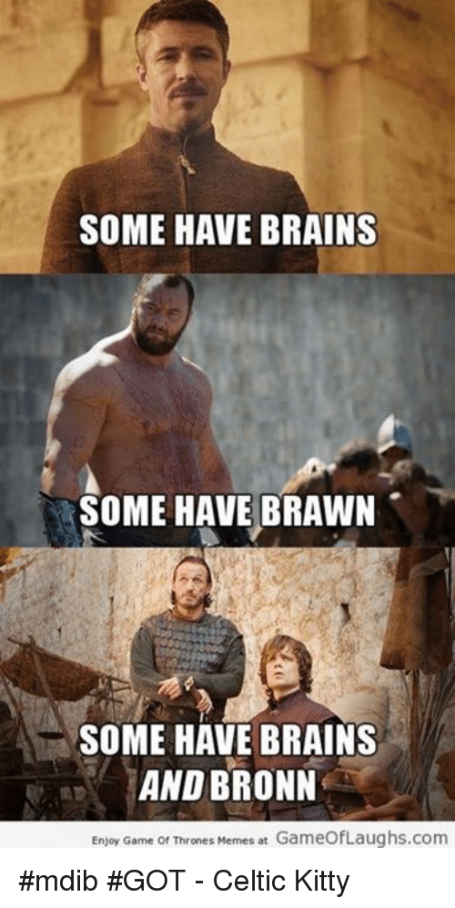 Game Of Throne Meme: SOME HAVE BRAINS  SOME HAVE BRAWN  SOME HAVE BRAINS  AND BRONN  Enjoy Game of Thrones Memes at GameofLaughs.com #mdib #GOT - Celtic Kitty