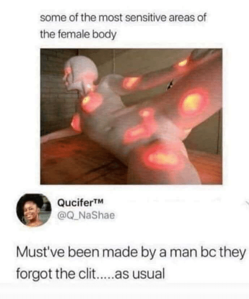 Some Of: some of the most sensitive areas of  the female body  QuciferTM  @Q_NaShae  Must've been made by a man bc they  forgot the clit..as usual